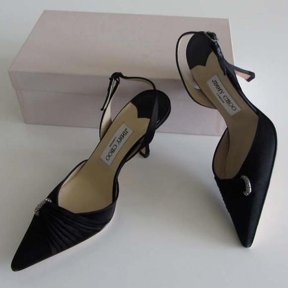 b4df3f6accdcd Jimmy Choo Shoes | New Nice Black Satin Slingback Pumps 37 | Poshmark